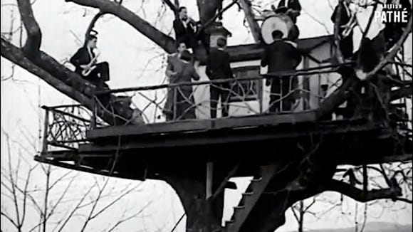 Climbing Trees to Dance, a 1930 Film by British PATHE; LOVE NEST, Hallam, PA, USA (Frame from YouTube v=I1YO5pInUkc)