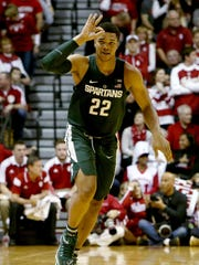 Michigan State's Miles Bridges celebrates in the first
