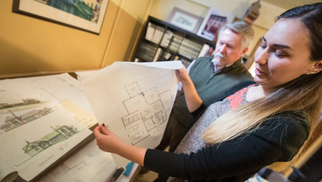 Adrienne, left, and Jim Williams are a father-daughter team at Williams Architects in York. Adrienne, 28, left a firm in Lancaster and went into business with her father.