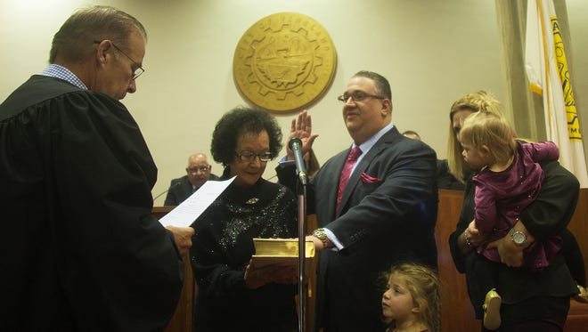 Vineland's new mayor, Anthony Fanucci, takes the oath to office at City Hall on Jan. 1.
