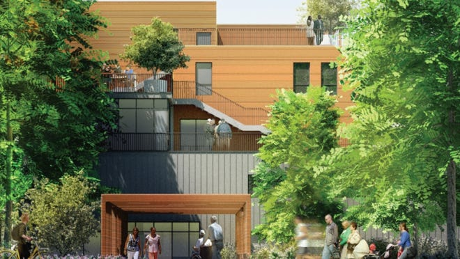 An architectural rendering of the proposed Wilson Gardens in Natick.