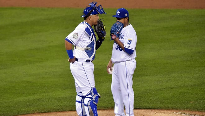 What appears to be pine tar is seen on Salvador Perez's right shin guard.