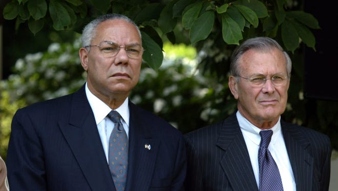 Colin Powell and Donald Rumsfeld famously feuded during President George W. Bush's first term.