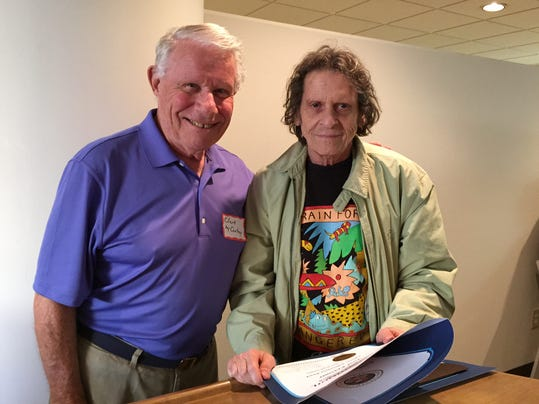 Paul Krassner, co-founder of the Yippies and publisher of Realist Magazine, was honored with a Lifetime Achievement Award at the Jon Castro Veterans for Peace Chapter 19 of the Inland Empire luncheon on Monday, Feb. 16, 2015 at Cimarron Golf Resort in Cathedral City. He's pictured with VFP's Clark McCartney. ~ Photo: Denise Goolsby/The Desert Sun