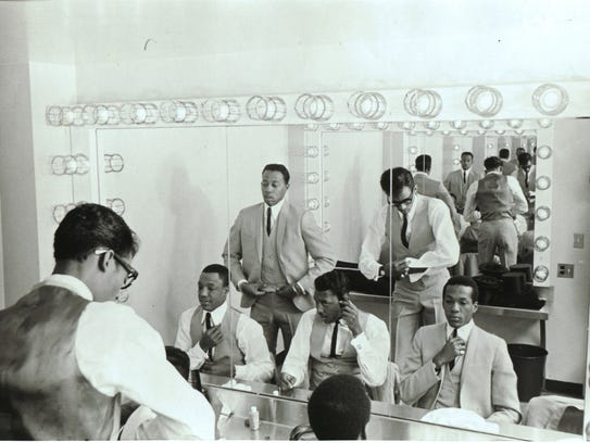 The Temptations in their dressing room in 1966