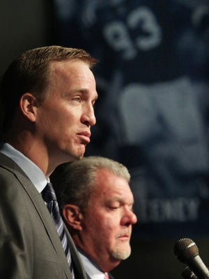 Their last news conference: In March 2012, also at the Colts Complex on W. 56th Street in Indianapolis, Peyton Manning, left, and team owner Jim Irsay announced that Manning and the Colts were parting ways.