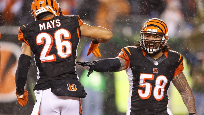 Cincinnati Bengals middle linebacker Rey Maualuga (58) celebrates a sack of Denver Broncos quarterback Peyton Manning (18) by free safety Taylor Mays (26) during the fourth quarter of their game played at Paul Brown Stadium on Monday.