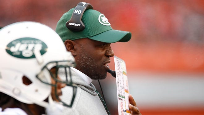 Jets head coach Todd Bowles of the New York Jets looks on during the first quarter against the Cleveland Browns at FirstEnergy Stadium on October 30, 2016 in Cleveland, Ohio.