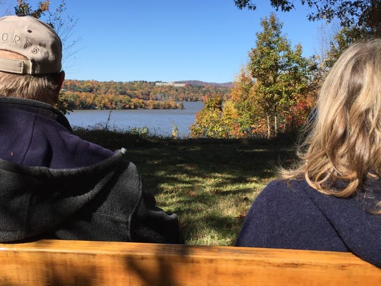 Steve Hesse of Poughkeepsie, left, and Christine Welker of Rhinebeck take in the view from the scenic overlook at the end of the new Greenway trail in the Town of Hyde Park on Oct. 23, 2015.