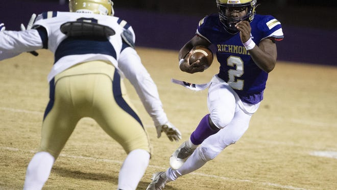 Rashad Williams of ARC rushes up field for the Musketeers at the high school football game between ARC and Brantley County on November 27, 2020 in Augusta, Ga.