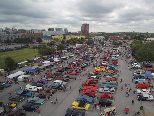 An aerial view via drone showing last year's Wilmo a Go Go car show. It returns to Wilmington Sunday.