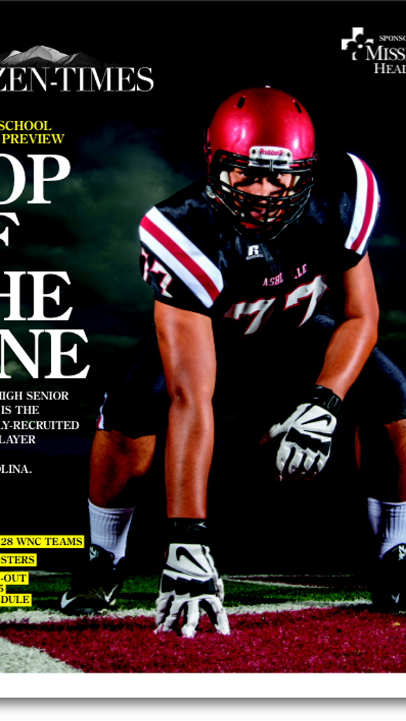 A sneak peek at the cover of the 2015 Citizen-Times High School Football preview issue which features Asheville High senior Pete Leota. Look for it in your Aug. 16 newspaper.