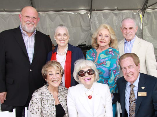 From left, Rancho Mirage Cultural Commission officials and guests (seated) Beverlee Greene, Carol Channing, Rancho Mirage Councilman Richard Kite; (standing) John Finkler, Sandy Woodson, Peggy Cravens, and Mitch Blumberg.