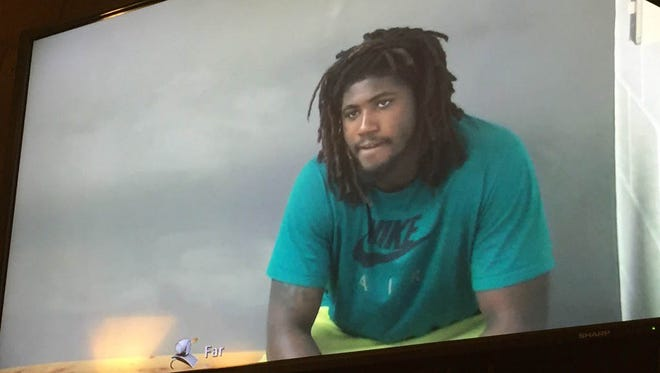 Auston Robertson is shown during his video arraignment on Tuesday.