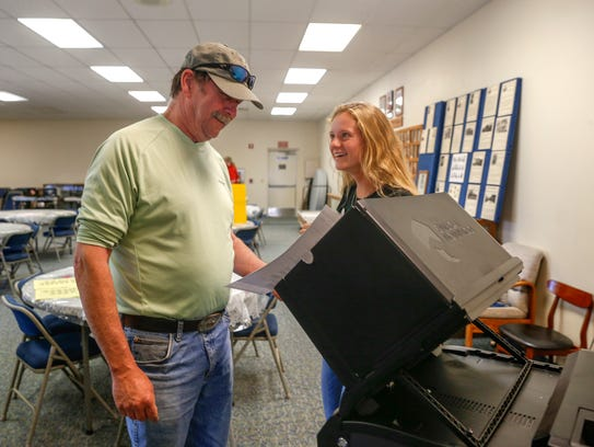 Ray Johnston, left, casts his ballot with help from election clerk Hailey Funk Tuesday at the Aztec Masonic Lodge.