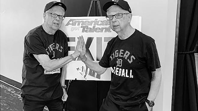The Chancia brothers, Bob, left, and Dick, in January at the America's Got Talent audition venue in Detroit.