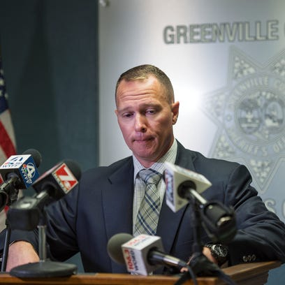 Greenville County Sheriff Will Lewis holds a press