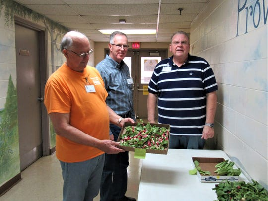 Spring radishes and baby greens were offered by Bill Kilbay, Phil Trussell and Paul Nichols.