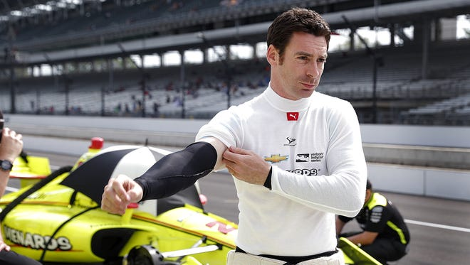 Team Penske driver Simon Pagenaud prepares for the Verizon IndyCar qualifications for the IndyCar Grand Prix on Friday at Indianapolis Motor Speedway.