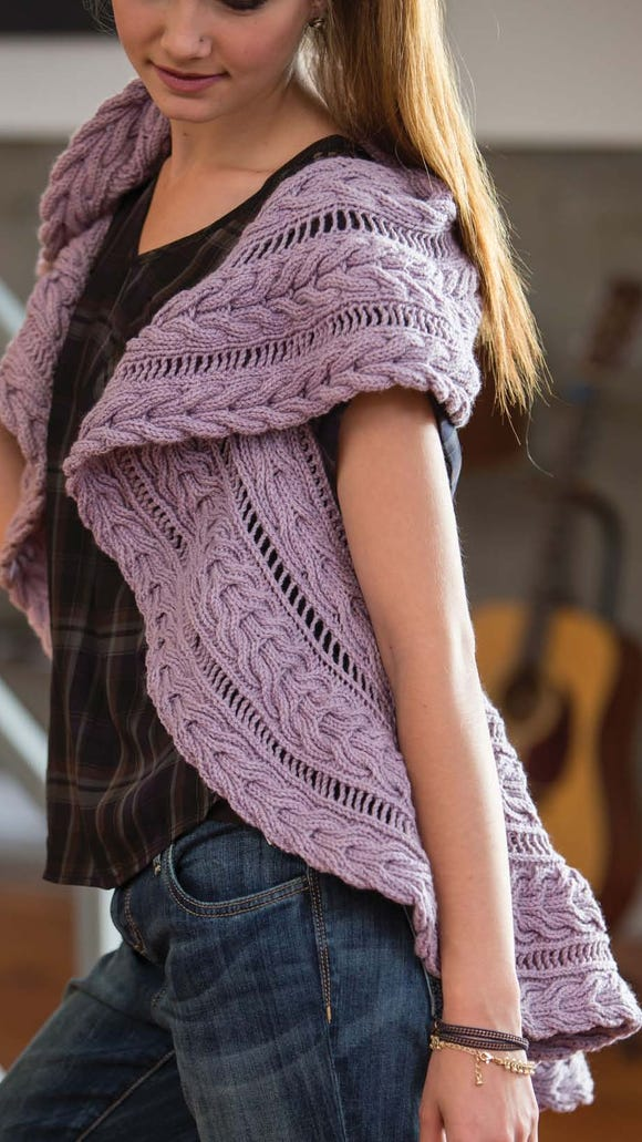 Heather uses reversible cables in her Stevens Vest, and she says they're a lot more fun to knit than binding off more than 500 stitches.