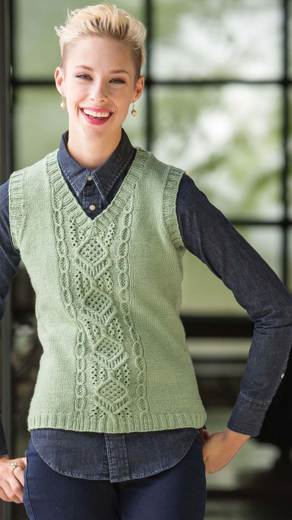 Heather likes offsetting a complicated cable or panel with other panels or sleeves of plain stockinette knitting, as she did in this Maytown vest.