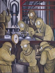 """A detail from the north wall of Diego Rivera's """"Detroit Industry"""" murals depicting the manufacture of poison gas bombs."""