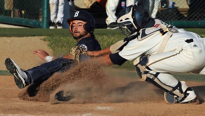 Aviators catcher John Sechen puts the tag on Butler second baseman Tyler Sullivan Wednesday night at Loeb Stadium.