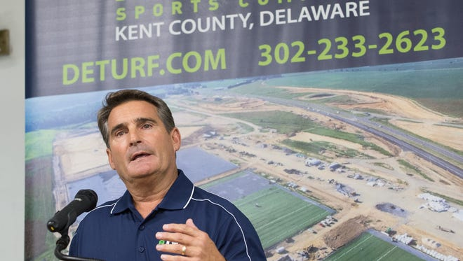 Bill Strickland, chairman of the Kent County Regional Sports Complex, speaks at an event for DE Turf Sports Complex in Frederica.