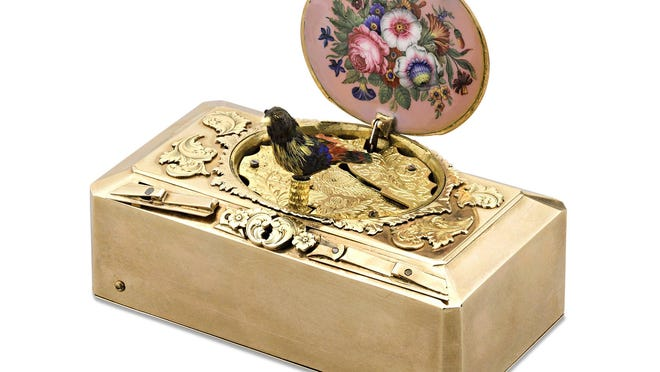 This circa 1820 Freres Rochat miniature singing bird box features a solid gold case and is less than 3 inches wide. It's among the works M.S. Rau will exhibit during the Palm Beach Show, which is scheduled for Thursday to Tuesday at the Palm Beach County Convention Center in West Palm Beach.
