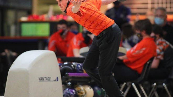 Tecumseh's Owen Williams bowls during Thursday's Southeastern Conference dual meet against Adrian at Ten Pin Alley.