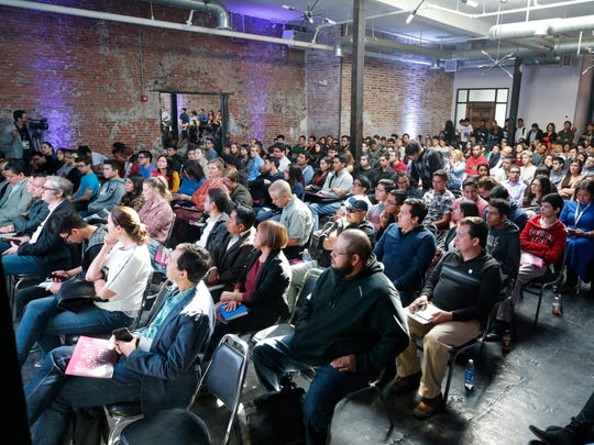 A packed house listened to tech experts during the second day of the Reset binantional technology conference Thursday at The Venue at Union Plaza in Downtown El Paso.