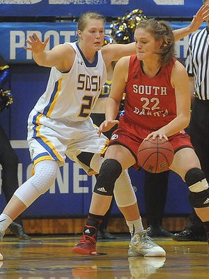 USD's Bridget Arens (22) and  SDSU's Clarissa Ober are both returnees who will be facing each other on Dec. 31 at the Sanford Coyote Sports Center.