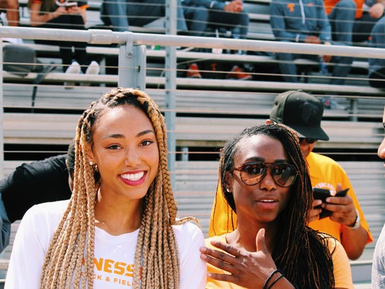 Tennessee sprinter Shania Collins with her mother,