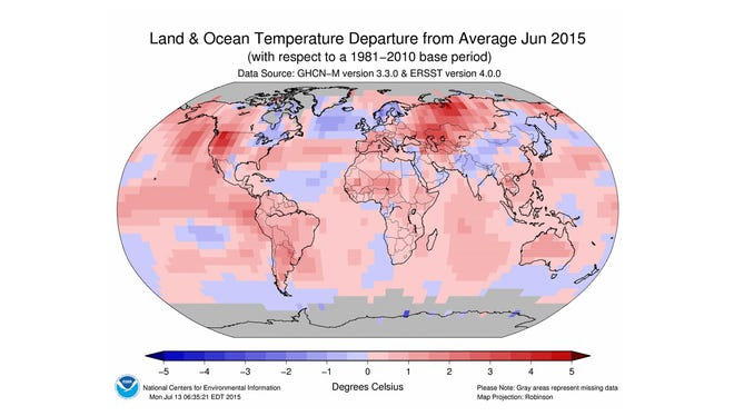 Areas in pink and red were warmer-than-average in June, while areas in blue were cooler-than-average.