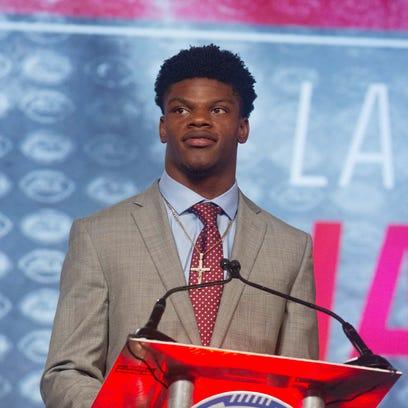 Jul 22, 2016; Charlotte, NC, USA; Louisville Cardinals quarterback Lamar Jackson speaks with the media during the ACC Football Kickoff at Westin Charlotte. Mandatory Credit: Jeremy Brevard-USA TODAY Sports