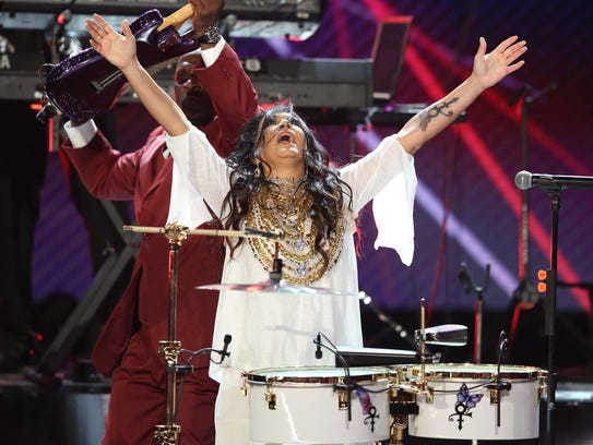 Sheila E. performs a tribute to Prince at the BET Awards