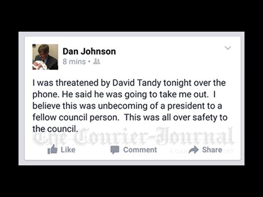 A screen grab of Dan Johnson's post