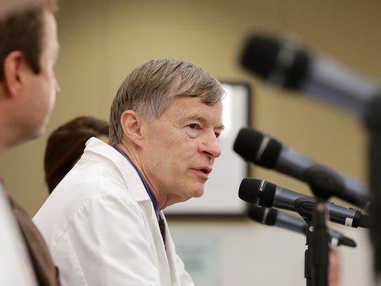 Dr. Phil Smith, medical director of the Nebraska Biocontainment Care Unit, answers a question during a news conference in Omaha, Nebraska, Monday, Nov. 17, 2014, on the death of Dr. Martin Salia, who contracted Ebola in his native Sierra Leone, and died Monday, Nov. 17, 2014, while being treated at the Nebraska hospital.