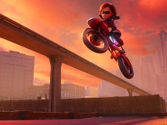 Elastigirl rides her state-of-the-art Elasticycle to
