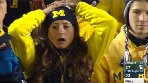 Victoria Norris, a 20-year-old Michigan junior from Ann Arbor, was caught on ESPN with a disbelief expression after the Wolverines' loss to Michigan State on Saturday.