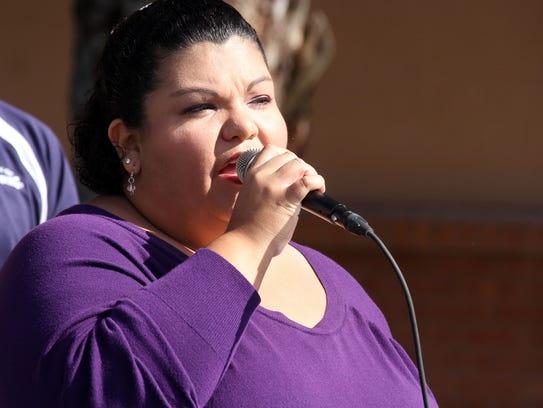 """Joanna Costilla sang """"The Star-Spangled Banner"""" and"""