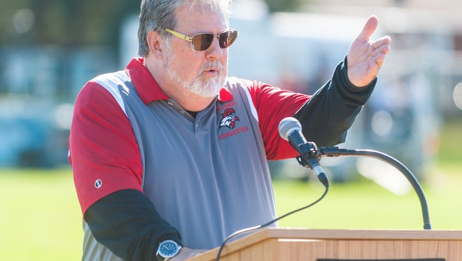 Former Vineland High School soccer coach Richard S. Klimek speaks during the unveiling of the Richard S. Klimek Soccer Field at Vineland High School in 2017. He passed away on Wednesday.