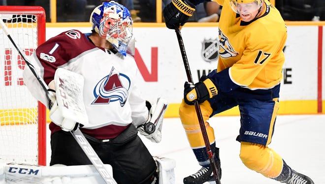 Nashville Predators left wing Scott Hartnell (17) has his shot blocked by Colorado Avalanche goalie Semyon Varlamov (1) during the first period at Bridgestone Arena in Nashville, Tenn., Tuesday, Oct. 17, 2017.