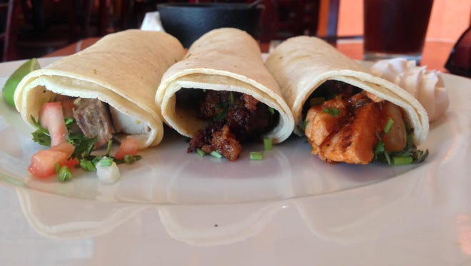 Pork, chorizo and chicken tacos at El Tio in Port Chester.
