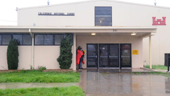 The winter warming shelter in Oxnard is seen during a recent rain storm in February.