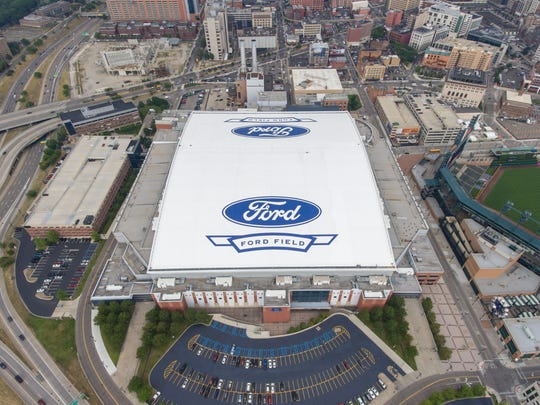 Rooftop improvements to Ford Field in downtown Detroit include larger logos and LED lighting ahead in time for fall 2016.