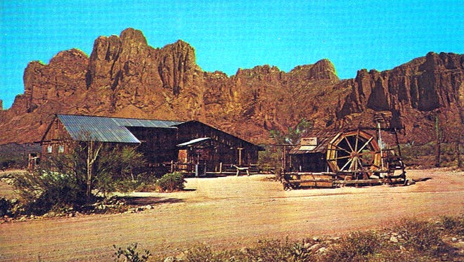 Framed by the majestic Superstition Mountains, the rustic Mining Camp Restaurant, seen on a 1965 postcard, was an East Valley fixture for 56 years until a fire consumed it in July 2017.