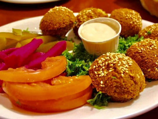 Dishes at the Falafel House.