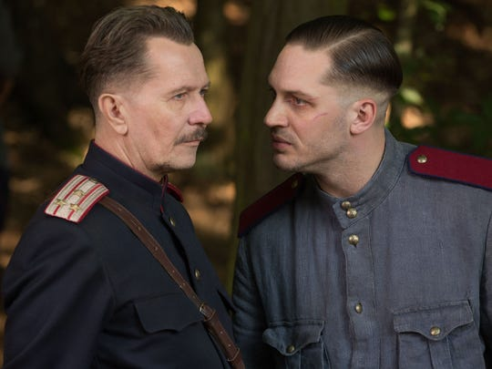 "Gary Oldman and Tom Hardy appear in a scene from ""Child 44."""