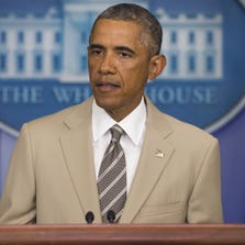 President Barack Obama speaks in the Brady Press Briefing Room at the White House.